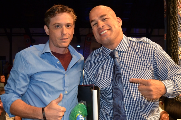The Clinch Report Founder Jonathan King with UFC Hall of Famer Tito Ortiz at OC Fight Club, Costa Mesa California. Photo by: John Walsh