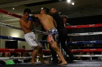 Vicious Elbow forcesthe stoppage,